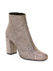 Saint Laurent Babies Glitter Block Heel Booties Or Pale