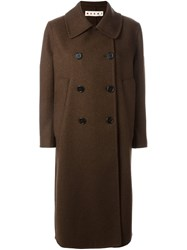 Marni Double Breasted Coat Brown