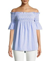 Romeo And Juliet Couture Smocked Off The Shoulder Shirt Blue