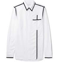 Givenchy Slim Fit Contrast Trimmed Cotton Poplin Shirt White