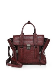 3.1 Phillip Lim Pashli Medium Two Tone Shark Embossed Leather Satchel Black Maroon