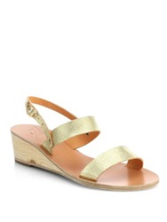 Ancient Greek Sandals Clio Metallic Leather Wedge Sandals Cracked Gold