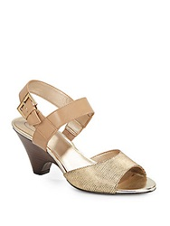 Circa Joan And David Naylor Embossed Leather And Faux Patent Sandals Taupe Gold