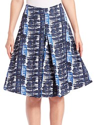 Oscar De La Renta Inverted Pleat A Line Skirt Marine Blue