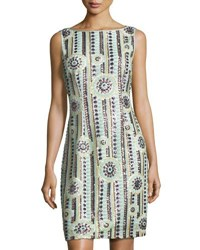 Tahari By Arthur S. Levine Sequin Embellished Sleeveless Sheath Dress Blue Pattern