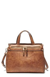 Sole Society Zypa Faux Leather Satchel Brown Cognac