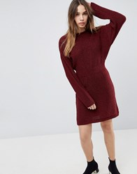 Asos Knitted Dress In Batwing Berry Red