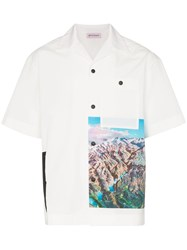 Palm Angels Short Sleeved Mountain Print Shirt White