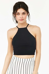 Truly Madly Deeply Cropped High Neck Tank Top Black