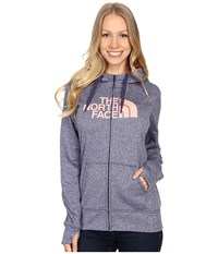The North Face Fave Half Dome Full Zip Hoodie Patriot Blue Heather Neon Peach Women's Sweatshirt