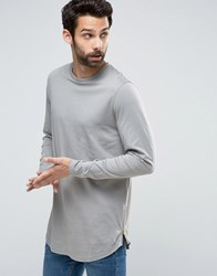 Asos Longline Long Sleeve T Shirt With Curve Hem And Zip In Grey Grey