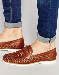 Dune Woven Loafers In Brown Leather Brown