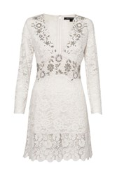 French Connection Emmie Lace Embellished Dress White