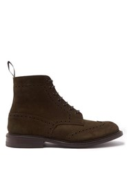 Tricker's Stow Suede Brogue Boots Khaki