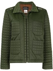 Chanel Vintage Quilted Zip Up Jacket Green
