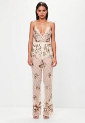 Missguided Nude Embellished Cami Jumpsuit