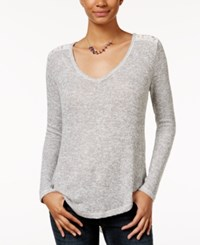 American Rag V Neck Lace Hem Top Only At Macy's Grey