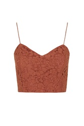 Topshop Sweetheart Neck Lace Bralet Rust