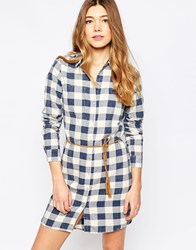 Only Checked Shirt Dress Dark Blue Denim