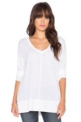 Splendid Heathered Thermal V Neck Sweater White