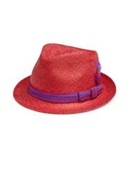 My Bob Zeus Straw Fedora Red Dark