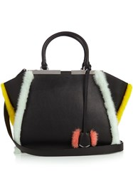 Fendi 3Jours Small Mink Fur Trimmed Leather Tote Black Multi
