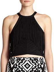 Torn By Ronny Kobo Reba Fringe Crop Top Black