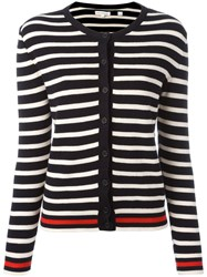 Chinti And Parker Breton Stripe Cardigan Blue