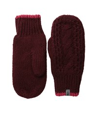The North Face Cable Knit Mitt Deep Garnet Red Cerise Pink Prior Season Extreme Cold Weather Gloves Brown