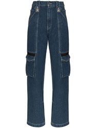 House Of Holland Mid Rise Cargo Pocket Straight Leg Jeans 60
