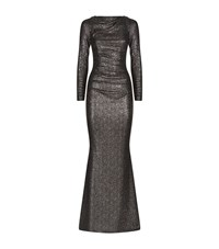 Talbot Runhof Dorango2 Metallic Jersey Gown Female Grey