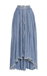 Luisa Beccaria Cotton Embroidered Skirt With Buttons Blue