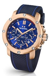 Tw Steel Men's Grandeur Tech Silicone Strap Watch 48Mm Blue Rose Gold