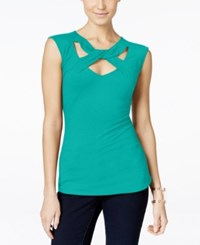 Inc International Concepts Cap Sleeve Cutout Top Only At Macy's Tropical Green