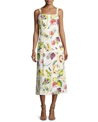 Adam By Adam Lippes Floral Leaf Print A Line Dress Multi Pattern