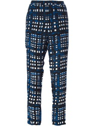 Thakoon Addition Cropped Plaid Trousers Blue