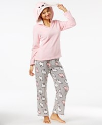 Pj Couture Plush Hooded Critter Pajama Set Light Pink Bunny