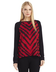 Kenneth Cole Davine Printed Top Chili