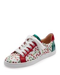 Christian Louboutin Seava Cherry Print Low Top Sneaker Multi