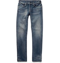 The Workers Club Slim Fit Washed Selvedge Denim Jeans Mid Denim