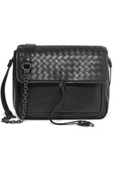 Bottega Veneta Saddle Small Intrecciato Leather Shoulder Bag Black