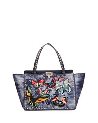 Red Valentino Rockstud Butterfly Embroidered Tie Dye Tote Bag Denim Denim Multi