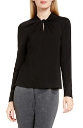 Vince Camuto Women's Twist Neck Keyhole Top Rich Black