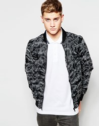 Brave Soul Faux Leather Camo Bomber Jacket Black