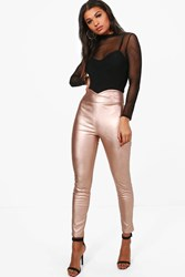 Boohoo Leather Look High Waist Skinny Trousers Rose Gold