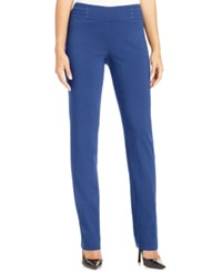 Jm Collection Petite Studded Pull On Pant Blue Steel