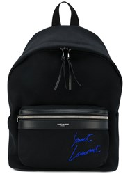 Saint Laurent Mini City Embroidered Backpack Cotton Leather Black