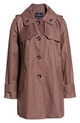 London Fog Petite Removable Hood Rain Coat Adobe