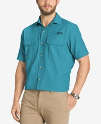 G.H. Bass And Co. Men's Performance Vented Short Sleeve Shirt Blue Danube