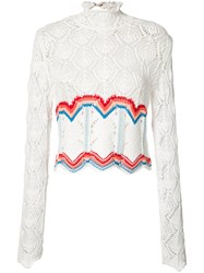 Peter Pilotto Crochet Rainbow Top White